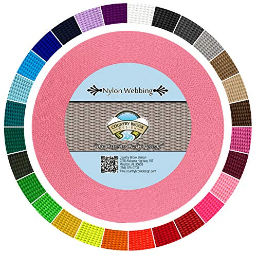 Country Brook Design | Durable 1 Inch Heavy Nylon Webbing | 29 Vibrant Colors (Pink, 10 Yards)