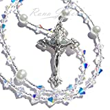 Rana Jabero Sparkling Iridescent Crystal AB Swarovski and Glass Pearl Catholic Rosary Beads