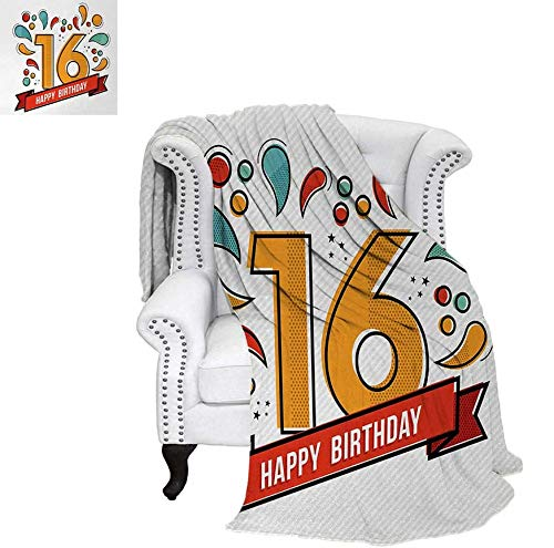 Super Soft Lightweight Blanket Festive New Age Modern Party Invitation Funky Teenage Typography Artwork Oversized Travel Throw Cover Blanket 60