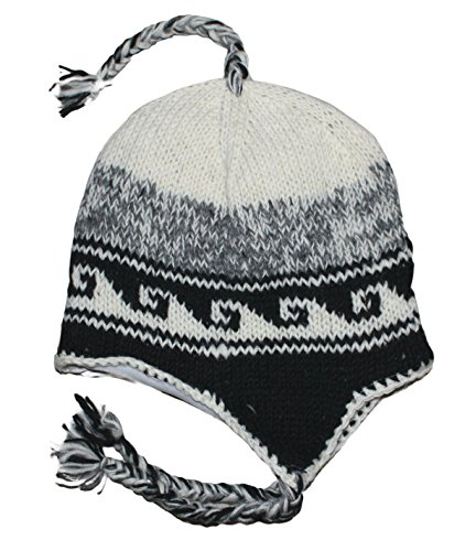 - Sherpa Designs Hand Knit Unisex Wool Beanie Hat Ear Flap Fleece Lined Nepal (White Wave)