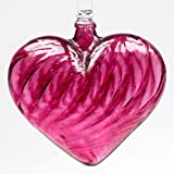 Kitras 3-Inch Heart Shaped Glass Ornament, Pink