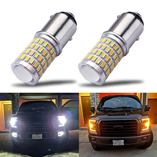 iBrightstar Newest Super Bright 1157 2057 2357 7528 BAY15D P21/5W Switchback LED Bulbs with Projector Replacement for Daytime Running Lights/DRL and Turn Signal Lights,White/Amber ()