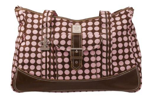 Kalencom Weekender Diaper Bag, Brown with Heavenly Dots Pink