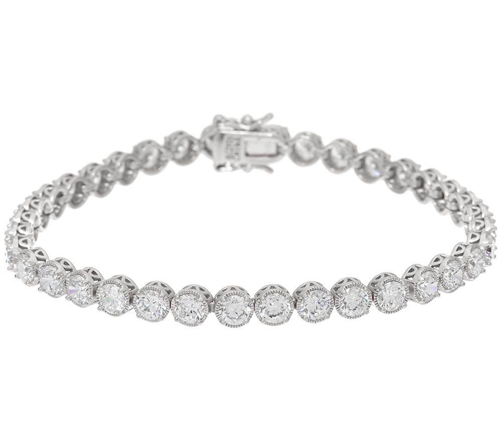Silvostyles 9.75 Carat Prong Set D/VVS1 Diamond 14K White Gold Plated Textured Tennis Bracelet