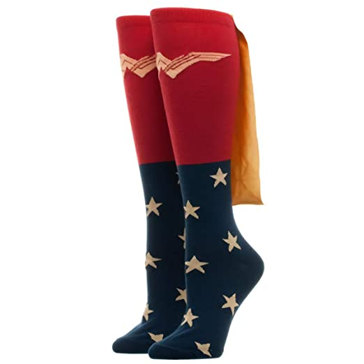 5767d3250 Image Unavailable. Image not available for. Color  Bioworld Women s Caped  Knee High Wonder Woman Movie Socks ...