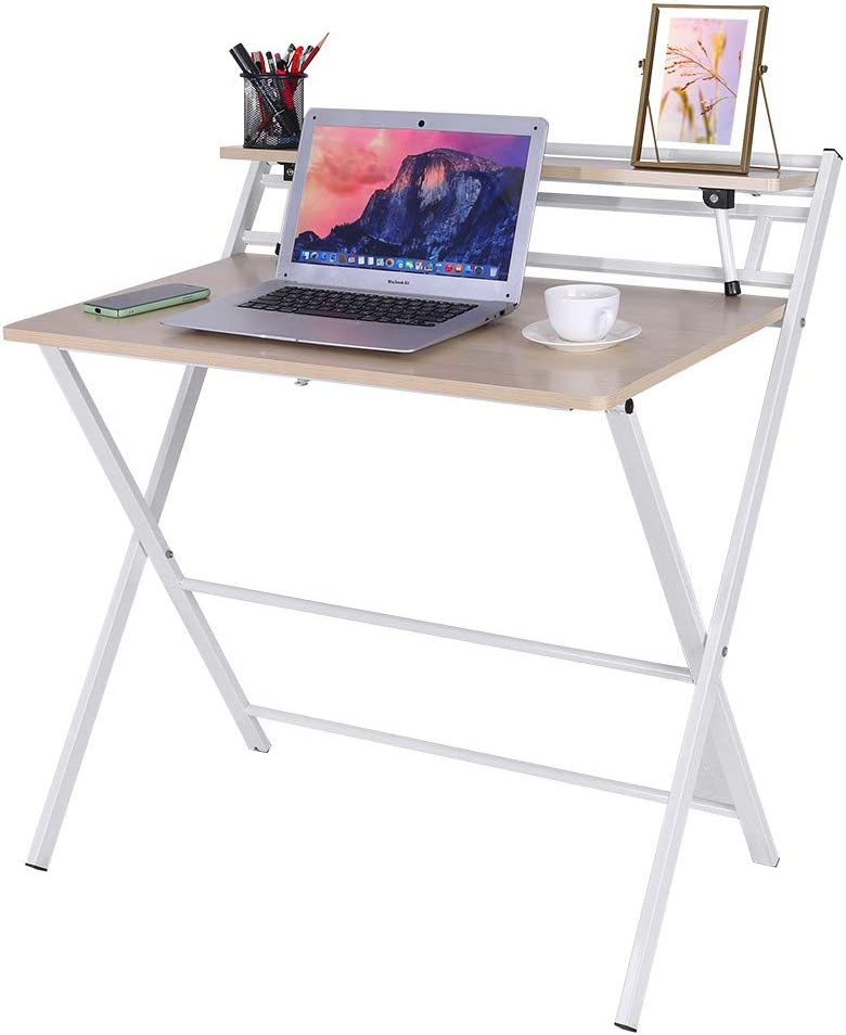 Foldable Computer Desk, Small Lazy Laptop Table for Small Space,Simple Home Office Desk Folding Laptop Writing Table with Storage Shelf,No Need to Install,Ancient Oak