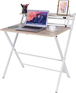 Luonita Folding Computer Desk for Small Space, 2 Tiers Computer Desk with Shelf,Space Saving Design Home Office Small Desk with Metal Legs,Foldable Study Writing Table,No Assembly,US Stock