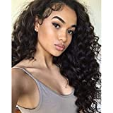 Am Youth Loose Wave Full Lace Wigs Human Hair - Glueless Brazilian Virgin Hair Wig with Baby Hair Loose Curly 130% Density for Black Women 20 inch