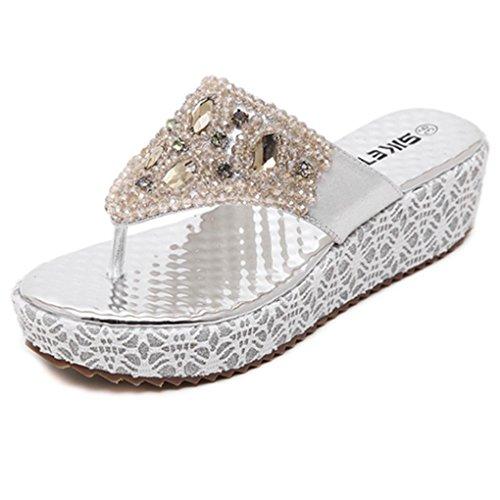 Zarbrina Women Wedge Sandals Rhinestone Bohemian Beaded Platform for Girls Flip-Flops Summer Beach Shoes Silver