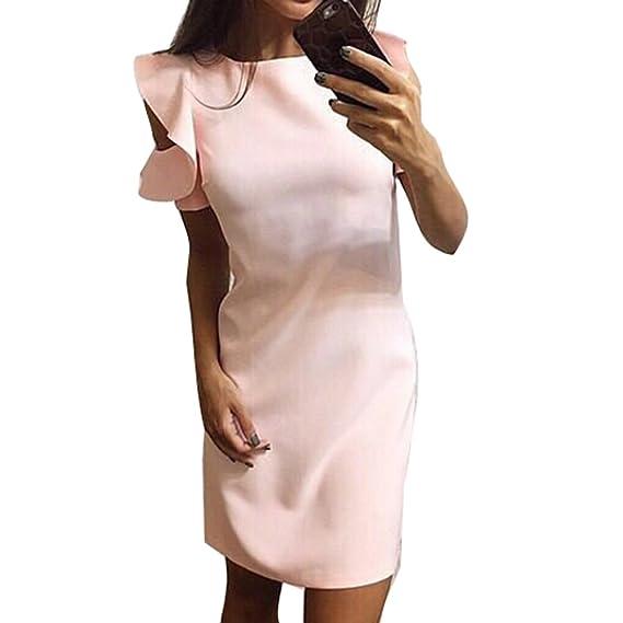 Verano Vestido para Mujer - Elegante Cuello Redondo Manga Corta Blusa Larga Elegante Color Sólido Mangas Puff Vestidos Ropa: Amazon.es: Ropa y accesorios