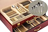 75-Piece Gold Flatware Set Dining Service for 12, 18/10 Premium Stainless Steel, 24K Gold-Plated Trim, Silverware Serving Set, Wood Storage Case (''Regency'')