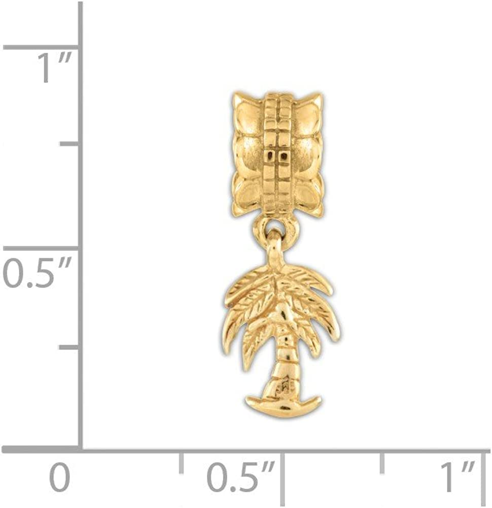 Sterling Silver 14k Gold-plated Reflections Palm Tree Dangle Bead