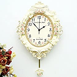Silent Wall Clock dustproof Glass Cover European Country Garden Resin Wall Clock Living Room Bedroom Wall Clock Decoration Clock Table Home Art Wall Charts Mute, intuitive Digital Display