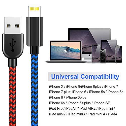 Vasea Phone Ladekabel 5 Stück [1/1/2/2/3 M] Phone Kabel für iPhone 11/XS MAS/XR/X/8/8 Plus/7/7 Plus/SE/6S/6S Plus/6/6 Plus/5S/ 5C/5 - Rot Blau Schwarz und Weiß