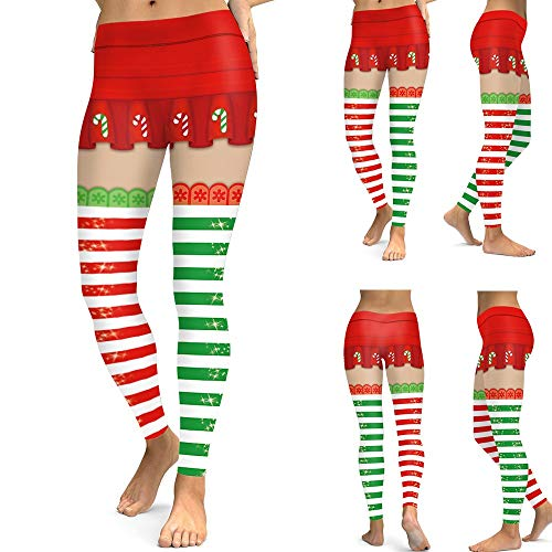 Christmas Party Pants,Gallity Womens Xmas Costume Workout Running Tights Yoga Pants Leggings (XL, Red)