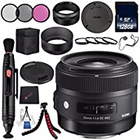Sigma 30mm f/1.4 DC HSM Art Lens for Nikon #301306 + 62mm 3 Piece Filter Kit + 128GB SDXC Memory Card + Lens Pen Cleaner + Microfiber Cleaning Cloth + Tripod Bundle (International Model No Warranty)