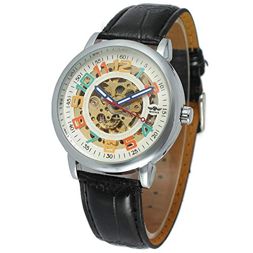 Unisex Big Colorfully Number White Dial Automatic Mechanical Watch Silver Stainless Steel Black Leather - Womens Watch Silver Dial Automatic