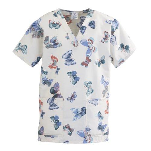 Medline ComfortEase Ladies V-Neck 2 Pocket Scrub Top, XS, Butterflies Print