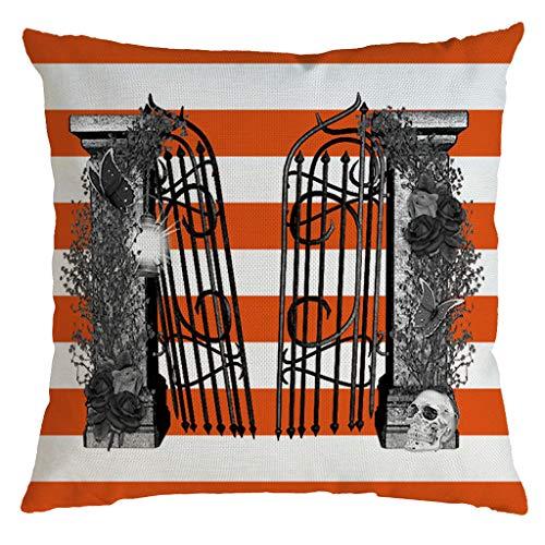 Aqua Halloween Lyrics (Unionm 38# Pillow Covers Decorative Throw Pillow Case Linen Halloween Theme Pumpkin Stripe Printed 45cm x 45cm 18 x 18 inches Cushion Cover for Home Sofa Car 1)