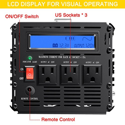 Novopal 1000 Watt Pure Sine Wave Power Inverter 3 AC Outlets DC 12v to AC 120v with Remote Control, Big LCD Display( Surge 2000W) by novopal (Image #2)