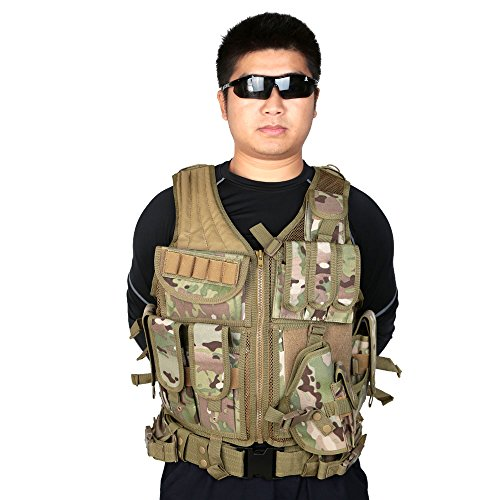 Lixada Armée Tactique Vest extérieure CS Champ Swat air de Jeu de Guerre Cosplay de Counter Strike Jeu Chasse Camping… 2