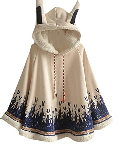 Nanquan-women clothes NQ Womens Stylish Cute Fleece Lined Rabbit ears Hooded Shawl Poncho Jacket White - Rabbit Poncho