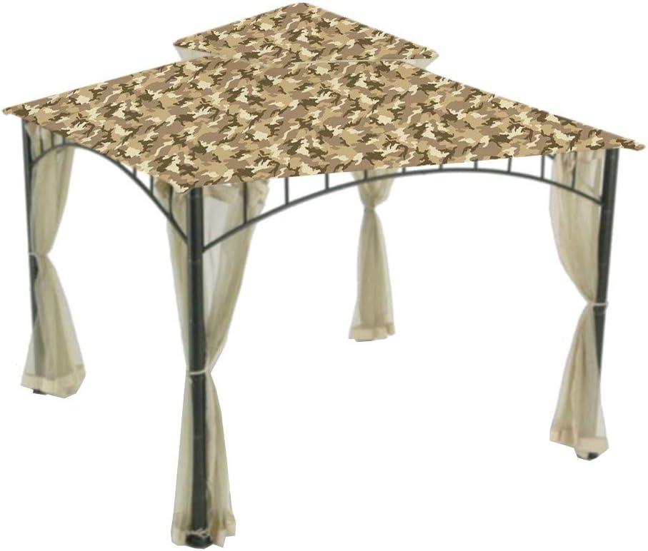 Garden Winds Replacement Canopy Top Cover for Summer Veranda Gazebo - Camo Sand