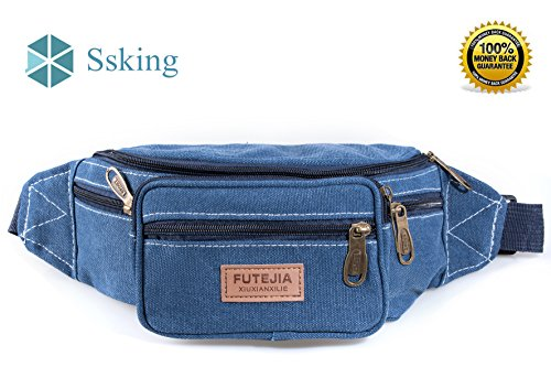 FUTEJIA Waist Bag Fashion Rugged Multi-functional With 7 Zippered Compartments Tour Lumbar Pack Sports Bag Fanny Pack | Stylish Unisex Design