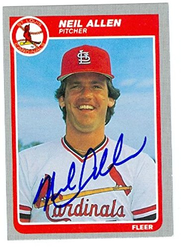 Neil Allen Autographed Baseball Card St Louis Cardinals 1985