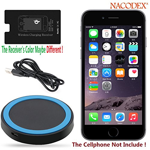 Wireless Charger , Nacodex® Qi Wireless Charging Charger Pad with Qi Wireless Charger Charging Receiver Kit for Apple Iphone 6 / 6 Plus [Hot-red Best Seller] Wireless Charger Charging Pad + Receiver Kit [2in1] ([Charger-pad + Receiver] for Iphone 6/plus)
