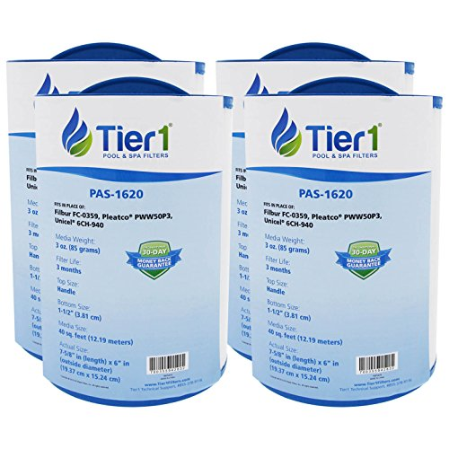 Tier1 FC-0359 Waterway 817-0050, Front Access Skimmer, Pleatco PWW50P3, Filbur FC-0359, Unicel 6CH-940 Comparable Replacement Filter Cartridge - Skimmer Access Front Spa
