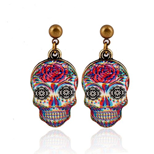 Elakaka Women's Skull Halloween Abstract European And American Style Earrings
