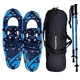 """FLASHTEK Snowshoes for Men and Women, Light Weight Aluminum Terrain Snowshoes (Blue, 25"""")"""