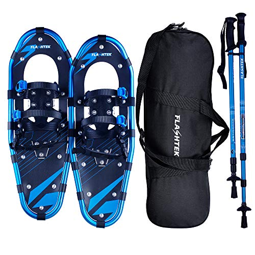 FLASHTEK 21/25/30 Snowshoes for Men and Women, Light Weight Snowshoes + Pair Anti-Shock Adjustable Snowshoeing Poles + Free Carrying Tote Bag