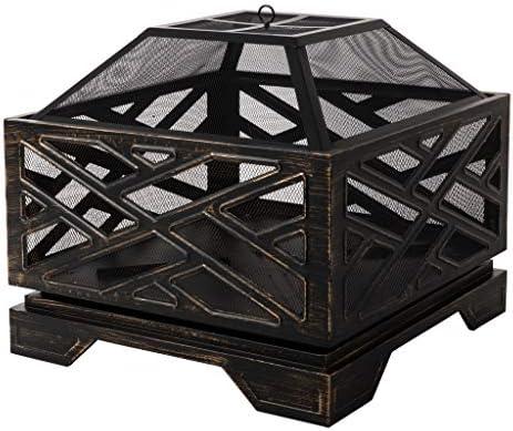 Amazon Basics 26″ Geometric Square Fire Pit