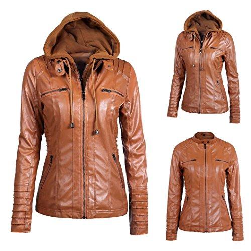 Kanpola Damen Mäntel Kunst Leder Warm Jacke Mantel Coat Revers Abnehmbare  Reißverschluss Outwear Braun 8zNfk ...