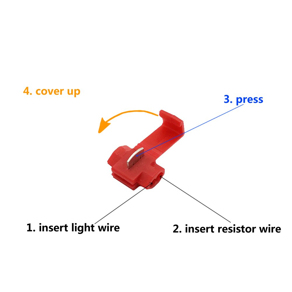 4pcs Artr 50w 6ohm Load Resistors With Extra Long Wire Addition Led Resistor Wiring Diagram On 5 Alternator 177 Inch Fix Bulb Fast Hyper Flash Turn Signal Blink Error Code Automotive