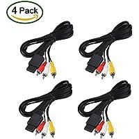 6 Feet AV Cable N64 AV Cable Composite Retro Audio Video Standard Cord for Nintendo 64 TV Game/ SNES/ Gamecube/ GC (4 Pack)