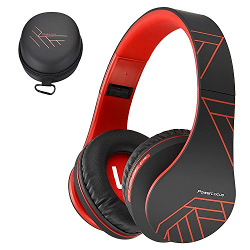 PowerLocus Bluetooth Over-Ear Headphones, Wireless Stereo Foldable Headphones Wireless and Wired Headsets with Built-in Mic, Micro SD/TF, FM for iPhone/Samsung/iPad/PC (Black/Red) ()