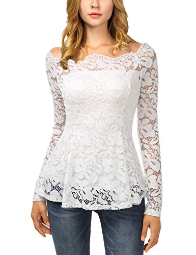 DJT A-Line Long Sleeve Boat Neck Tops, Women Sexy Off Shoulder Floral Lace Top T Shirts X-Large White