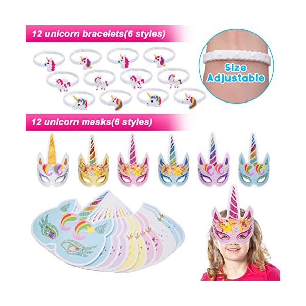 Pawliss 60 Pack Unicorn Party Favors Supplies, Masks, Rings, Bracelets, Keychains, Tattoos, Kids Girls Birthday Novel… 6