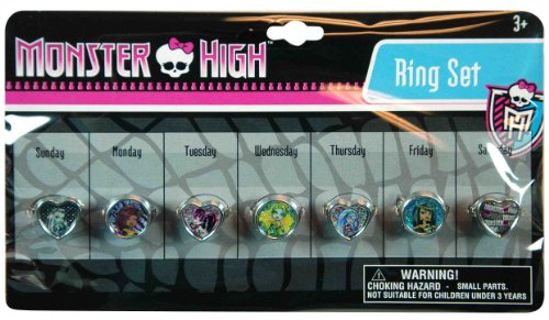 Monster High Day of the Week Pretend Play Ring Set (Monster High Rings)