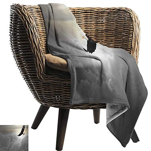 Travel Throw Blanket,Eagle,Majestic Creature Flying Above Clouds Liberty Democracy and Freedom,Pale Grey Pale Yellow Black,Super Soft and Warm,Durable Throw Blanket 70