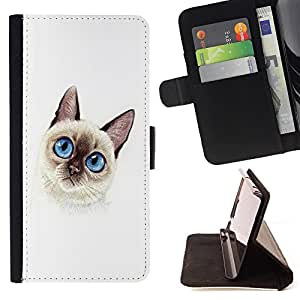 Devil Case- Style PU Leather Case Wallet Flip Stand Flap Closure Cover FOR HTC One M7- Cat Cute Kitty