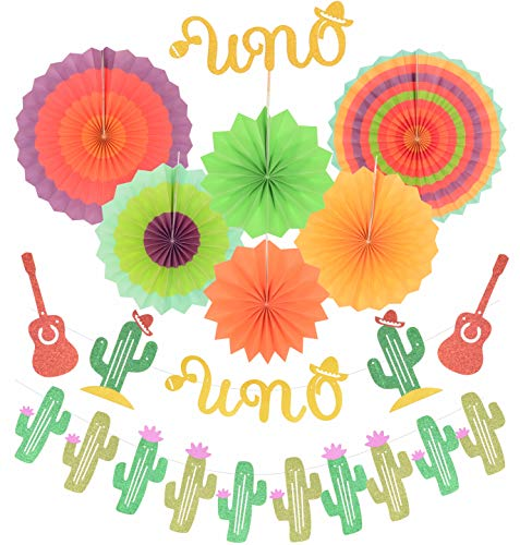 UNO Fiesta First Birthday Decoration | Fiesta Cactus Taco First Party Decoration Supplies | Gold Glittery UNO Cake Topper | Mexican Fiesta Themed First Birthday Party Decorations | for Spanish First Birthday Party Decorations Supplies | Colorful glitter UNO with colorful fans]()