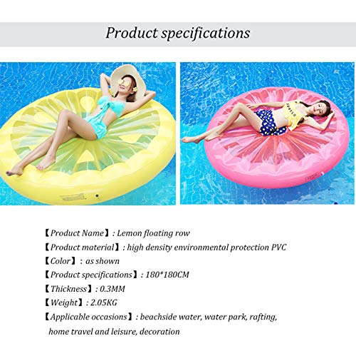 Giant Inflatable Lemon Slice Floating Row Adults Kids Summer Beach Toy Swimming Pool Party Lounge Round Raft-Yellow by WYL (Image #4)