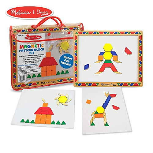 Magnetic Mosaic Set - Melissa & Doug Magnetic Pattern Blocks Set, Developmental Toys, Sturdy Wooden Play Board, Carrying Case, 120 Pieces, 14.5