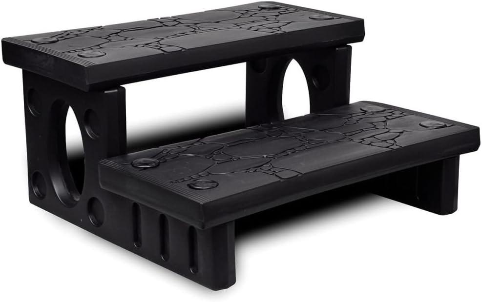 vidaXL Mini Escalera 2 Peldaños Jacuzzi Plástico Negro Escalón Bañera Piscina: Amazon.es: Hogar