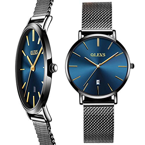 (Woman Watch Mesh Black Stainless Steel,Female Watches with Date, Ultra Thin Watches for Women,Fashion Ladies Watch on Sale,Simple Quartz Ladies Watch Waterproof,Casual Lady Watches Analog Blue Dial)