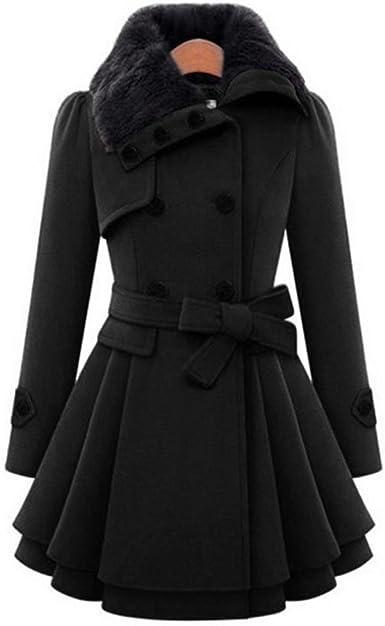 Women/'s Long Parka Outwear Jackets Warm Trench Coat Swing Over Knee Double Breas